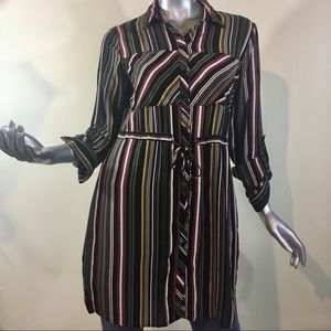Love Notes Juniors Large Striped Tunic Top Button